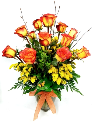 Dozen Long Stem Fancy Orange Roses