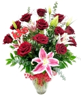 One Dozen Red Roses with Stargazer Lilies