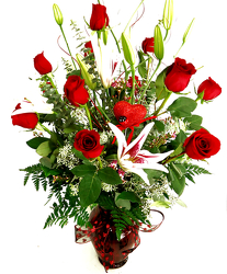 Dozen Long Stem Fancy Red Roses and Stargazer Lilies