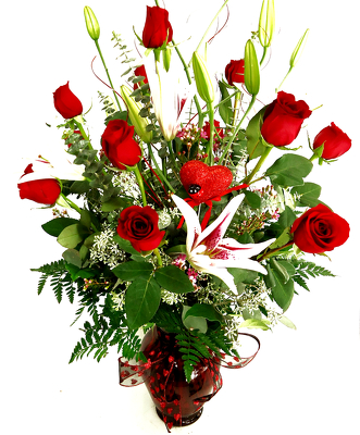 Dozen Long Stem Fancy Red Roses and Stargazer Lilies*