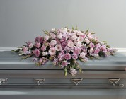 Lavendar and pink casket spray