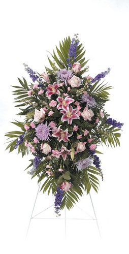 Purple floral sympathy standing spray