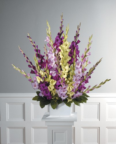Lavender and green gladiolas sympathy mache
