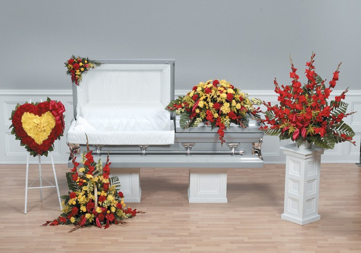 Yellow and red funeral package
