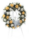 Yellow and white sympathy wreath
