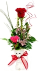 Single Red Rose Budvase with Teddy Bear